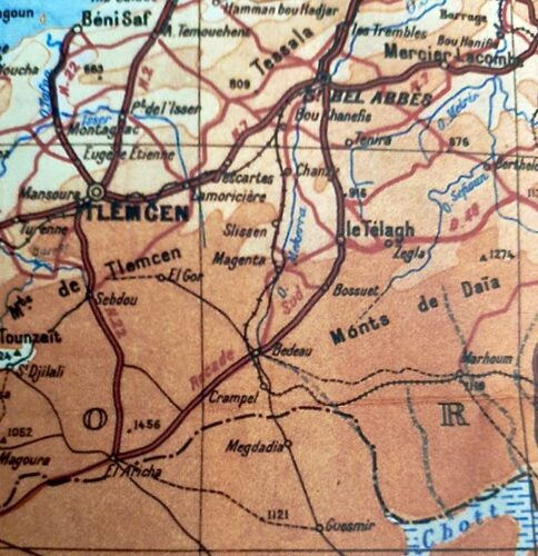 Carte localisant Le Telagh (auj. wilaya de Sidi Bel-Abbès) à une cinquantaine de kilomètres de SBA et une centaine de kilomètres de Tlemcen. Bedeau (act. Ras el-Ma) est plus au sud.